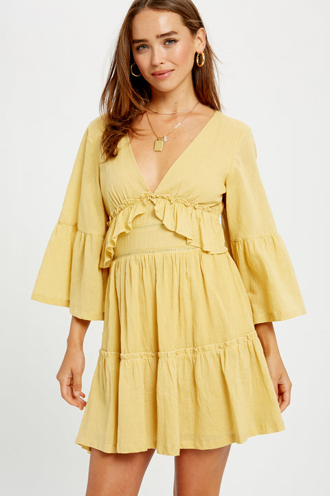 Date in Paris Ruffle Bell Sleeve Dress in Mustard