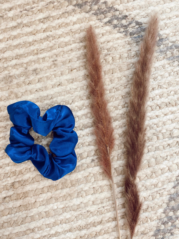 Dark Blue Chiffon Scrunchie