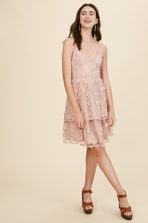 Wine in Paris Embroidered Cocktail Dress