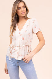 Euro Summers Floral Print Top