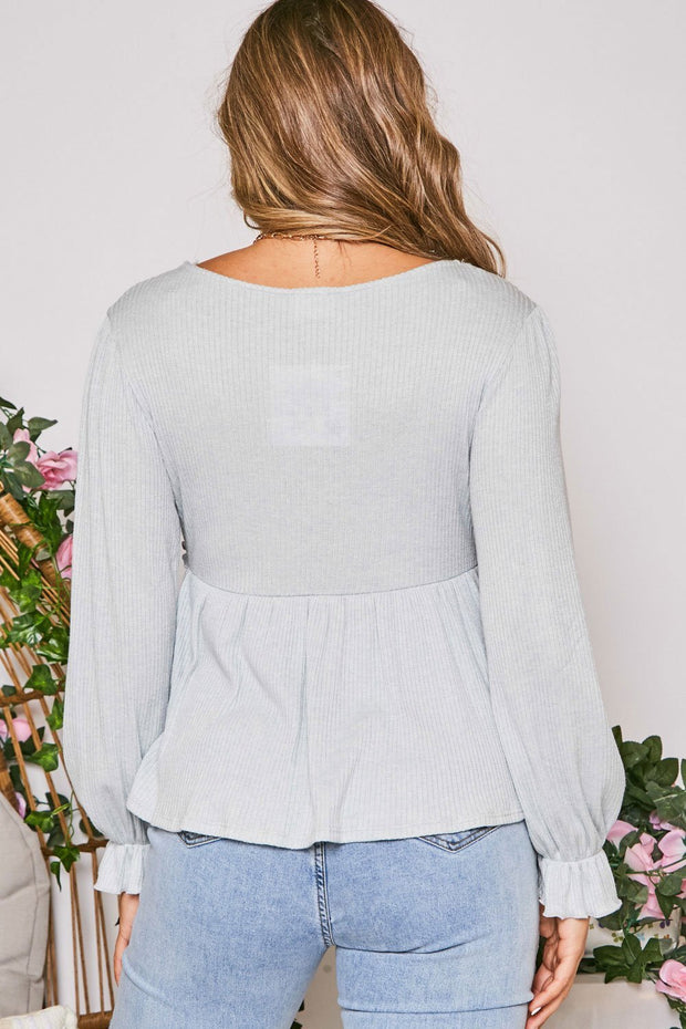 Sky High Waffle Peplum Top // Dusty Pale Blue