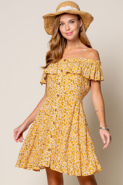 French Picnics Off the Shoulder Flare Dress