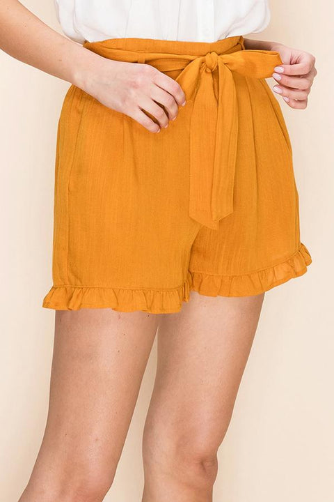 The Halston Paperbag Shorts in Camel