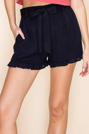 The Halston Paperbag Shorts in Navy