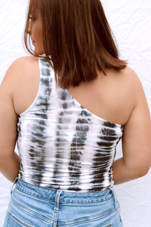 By Your Side One Shoulder Tie Dye Bodysuit