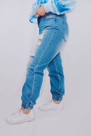 Too Late Distressed Denim Mom Joggers
