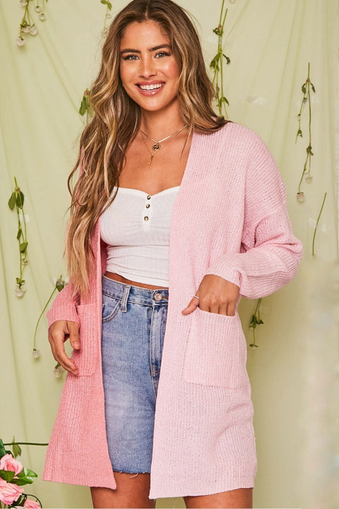 Love Vibes Two-Tone Cardigan // Pink