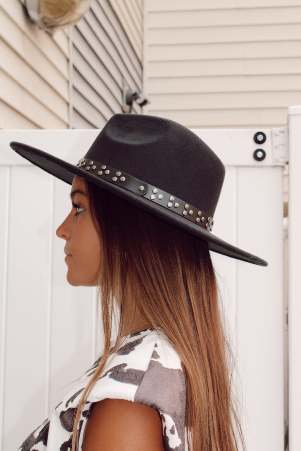 Studded Strap Flat Brim Hat // Black