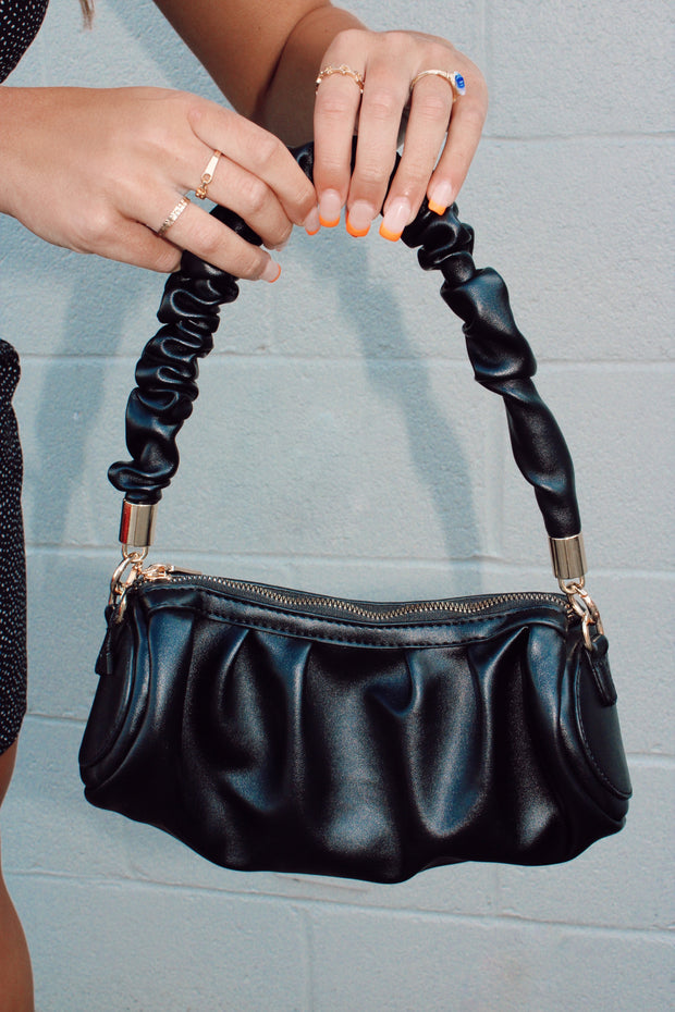 Faux Leather Rectangle Bag // Black
