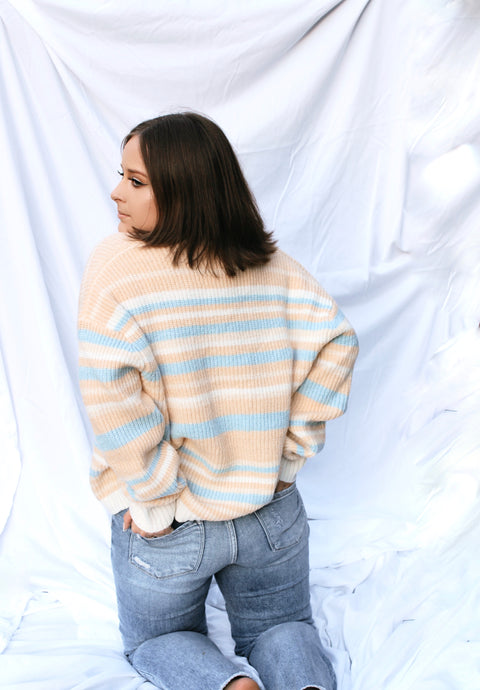 Latte Mornings Striped Cardigan