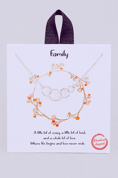 Family Ring Link Pendant Necklace // Silver