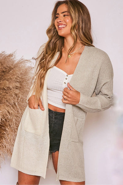Love Vibes Two-Tone Cardigan // Sage