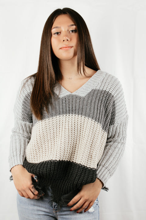 Travel Skies Distressed Colorblock Sweater // Grey