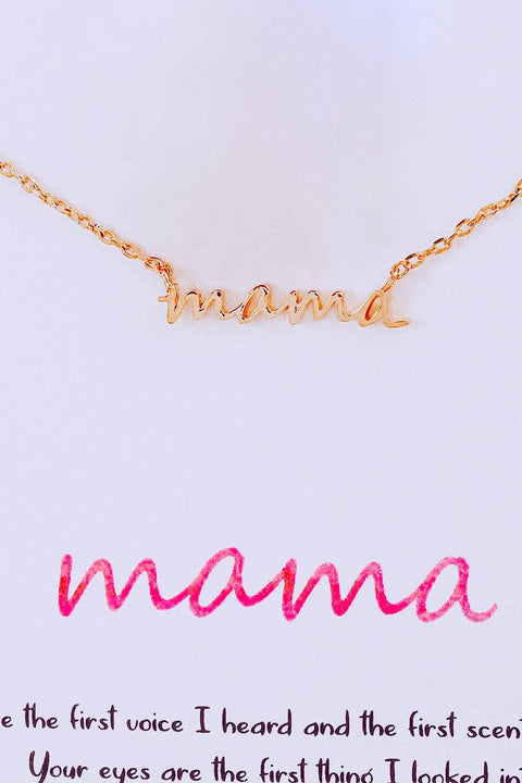 Mama Pendant Necklace // Gold