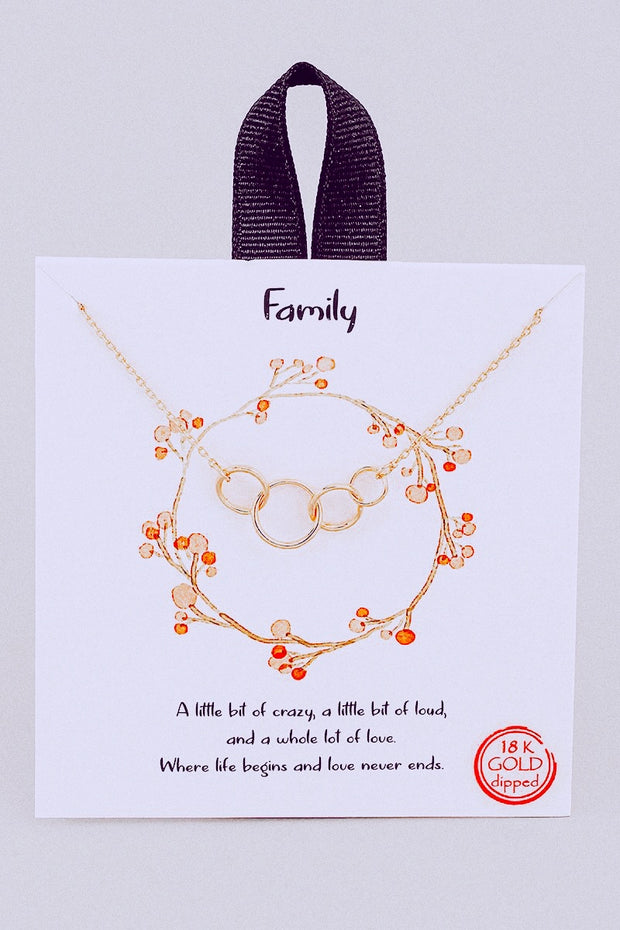 Family Ring Link Pendant Necklace // Gold