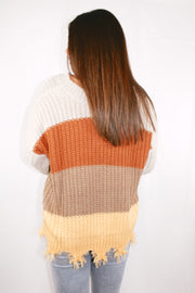 Travel Skies Distressed Colorblock Sweater // Beige