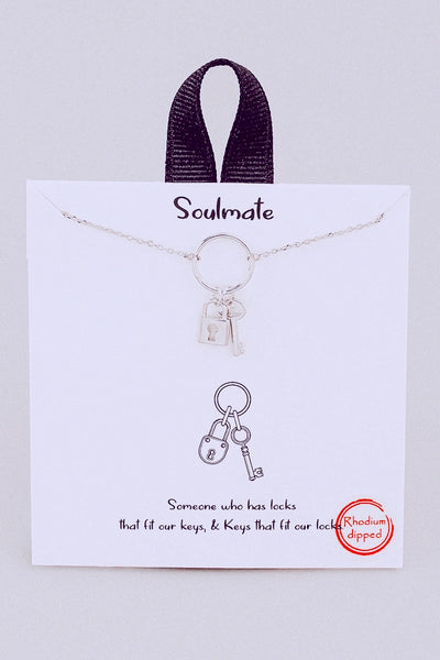 Soulmate Lock And Key Pendant Necklace // Silver