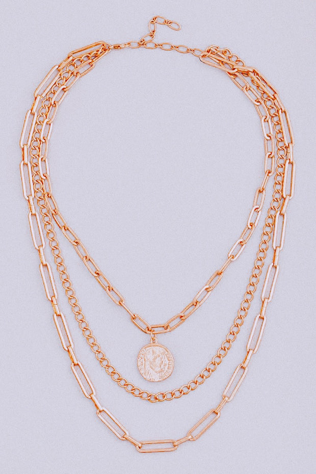 Layered Chain Coin Charm Necklace