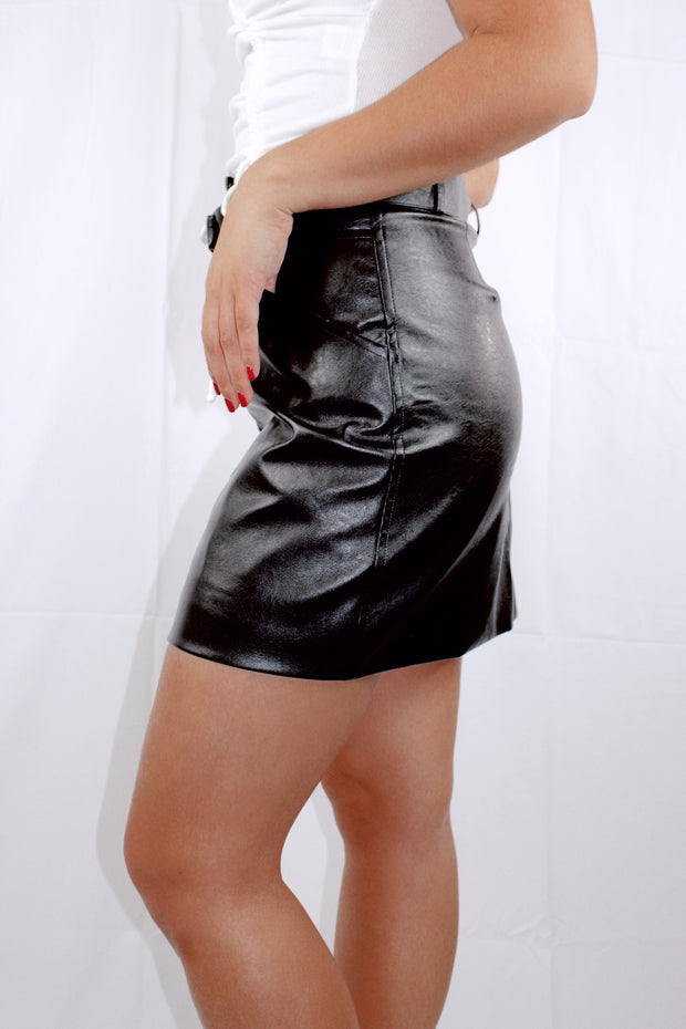 Shine On Faux Leather Skirt