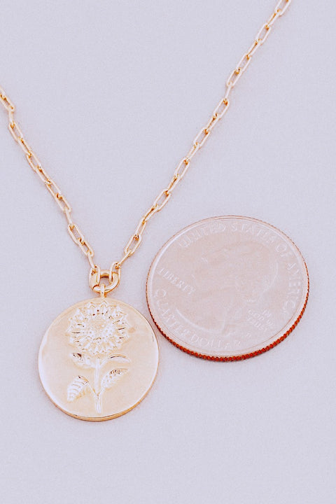 Flower Coin Pendant Necklace