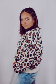 French Town Fuzzy Leopard Sweater