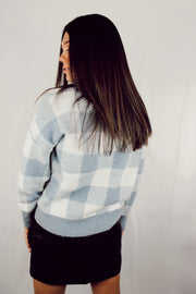 From Rome Check Sweater // Light Blue