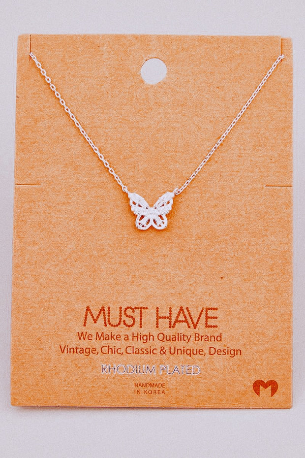 Mini Rhinestone Butterfly Pendant Necklace // Silver