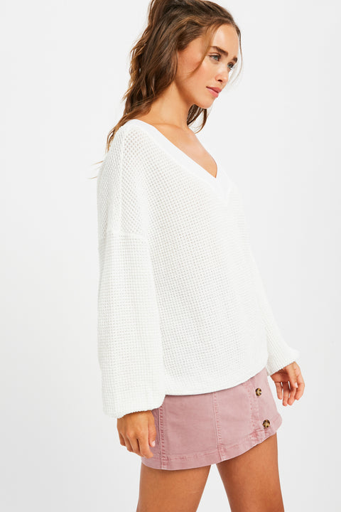 Mimosa on a Monday Waffle-Textured Top in Ivory