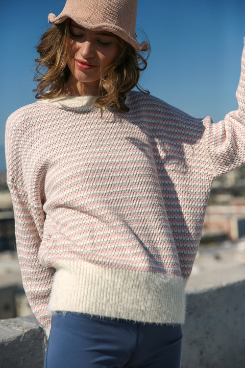 L.A. Woman Striped Pullover Sweater