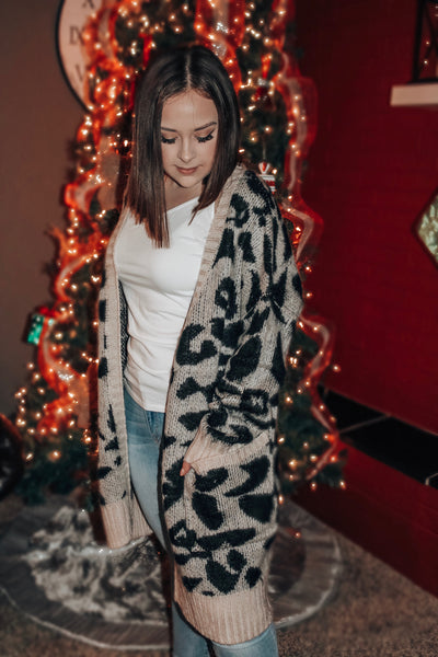 Keeping Cozy Leopard Print Cardigan with Pockets