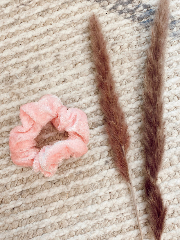Light Pink Velvet Scrunchie