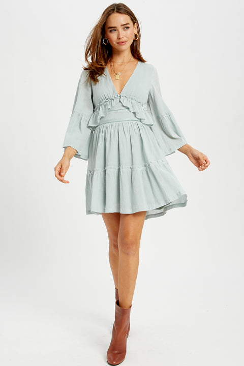 Date in Paris Ruffle Bell Sleeve Dress in Blue