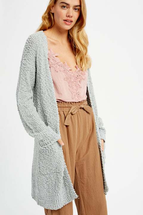 Lattes and Love Popcorn Open Cardigan