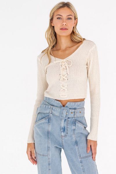 You're Mine Lace Up Knit Top