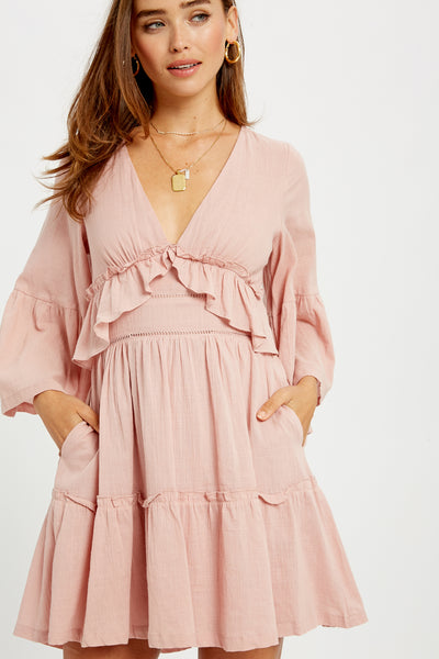 Date in Paris Ruffle Bell Sleeve Dress in Blush