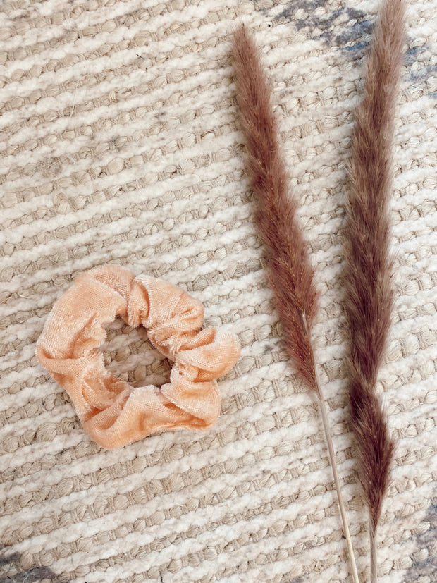 Peach Velvet Hair Scrunchie