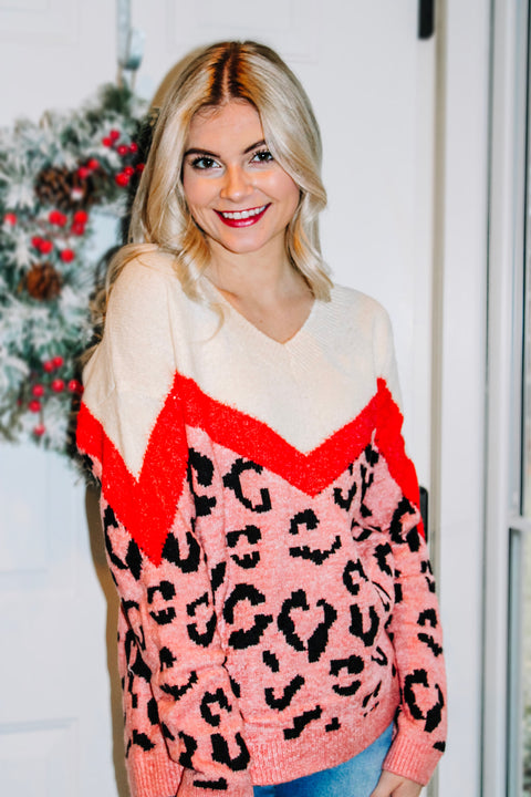 Pretty in Pink Leopard Colorblock Sweater