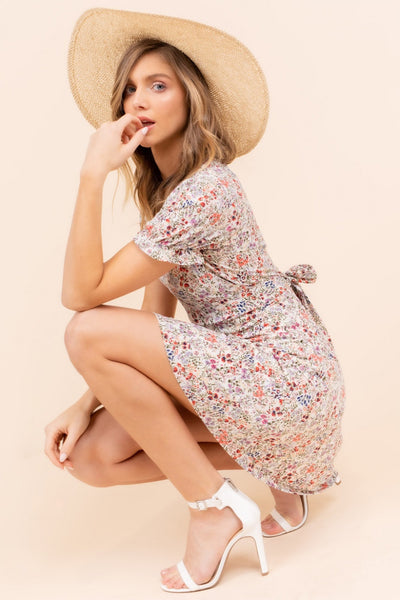Sunday Rainfall Floral Back-Tie Dress