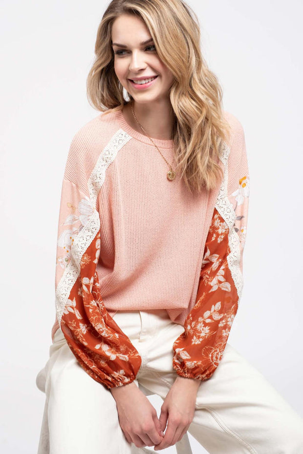 A Touch of Chai Lace Knit Top