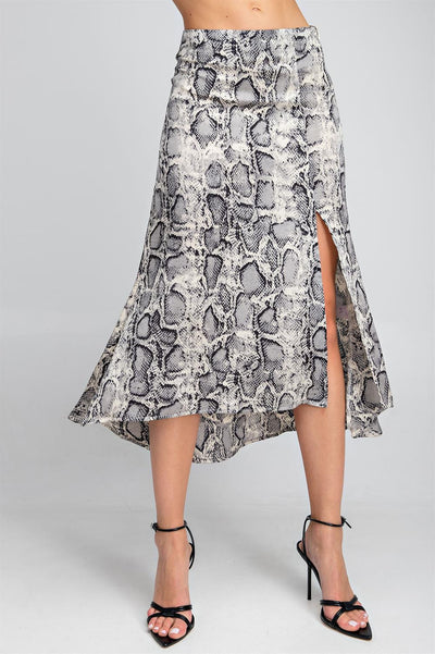 The Ashley Snake Print Midi Skirt