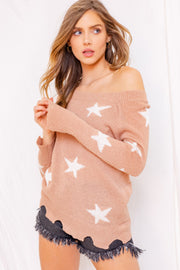Ultimate Girl Off The Shoulder Star Sweater