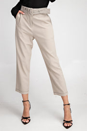 The Lauren Belted Ankle Pants in Taupe