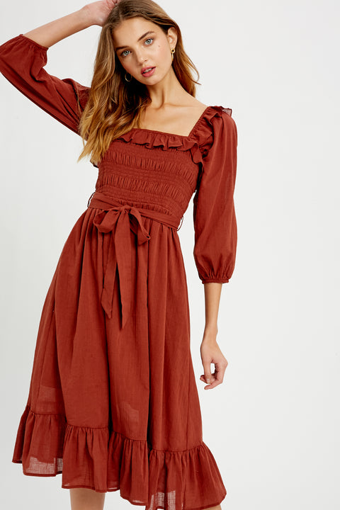 Better with Brunch Ruffle Midi Dress