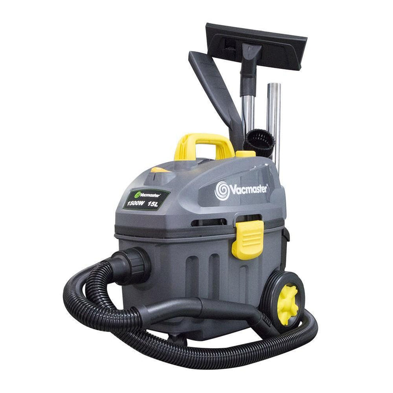 VACMASTER WET / DRY VAC 15 LTR 1500W WITH HEPA FILTER AND POLY TANK
