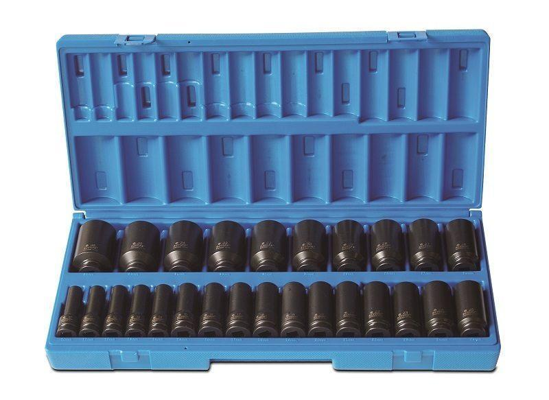 "Action Impact Socket Set 1/2"" Drive Deep 26 Piece 6PT Metric 605222601"