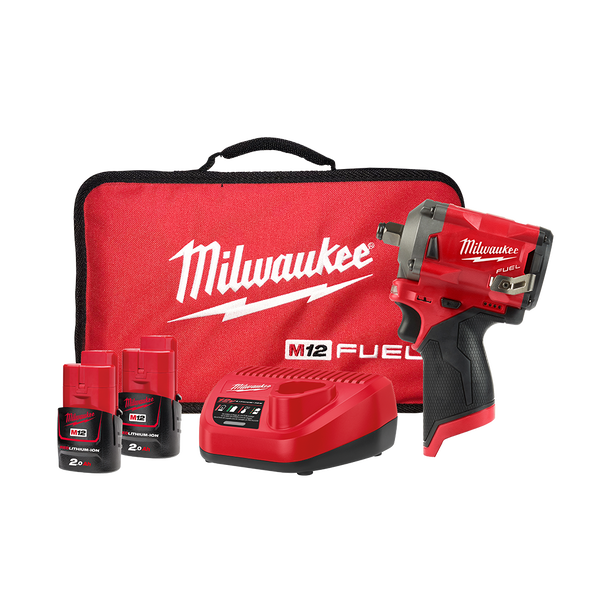 "Milwaukee M12 Fuel 1/2"" Stubby Impact Wrench 2.0Ah Kit M12FIWF12-202B"