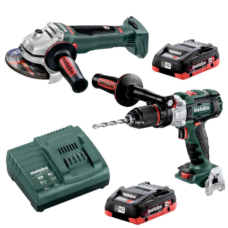 Metabo 18V Hammer Drill 120Nm + 125mm Angle Grinder 4.0Ah LiHD Kit (AU68901780) - United Tools Townsville