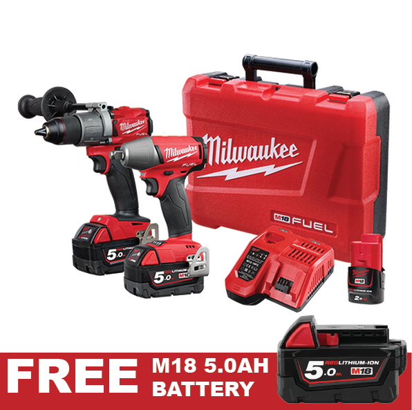 Milwaukee M18 Fuel 2 Piece 5.0Ah Kit M18FPP2C2-502C