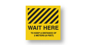 Wait Here Floor Sticker  <br>Min Qty 5  Per Pack<br>