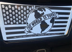 THE WORLD IS YOURS FLAG DECAL *SUNROOF*